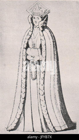 Emil Brass, Im Reiche der Pelze, 2. Auflage, 1925, Seite 174, Livländische junge Edeldame aus dem Jahre 1590 mit - Stock Photo