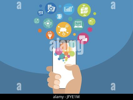 Cloud computing and mobility concept as vector illustration with hand holding modern bezel-free / frameless smartphone - Stock Photo