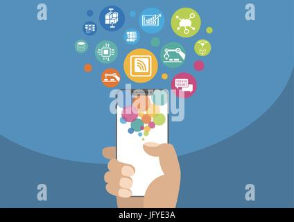 Industry 4.0 and industrial internet of things concept as vector illustration with hand holding modern bezel-free / frameless smartphone and icons