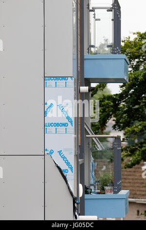 Swansea, UK.  2nd July, 2017.  New cladding on three residential tower blocks at Clyne Court, Sketty, Swansea, has - Stock Photo