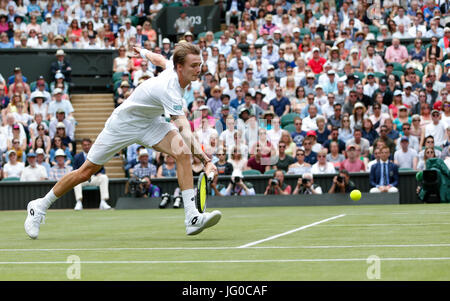 London, UK. 3rd July, 2017. Alexander Bublik of Kazakhstan competes during the men's singles first round match with - Stock Photo
