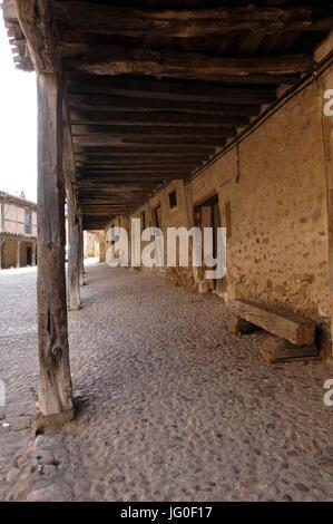 arcades in the medieval village of Calatañazor, Soria province, Casitlla y León, Spain - Stock Photo