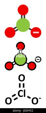 Chlorate anion, chemical structure. Conventional skeletal formula and stylized representations. - Stock Photo