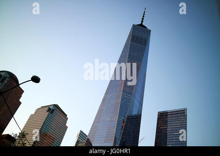 looking up at one world trade center at dusk New York City USA - Stock Photo