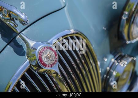 Radiator grille, badge and hood ornament of Jaguar 3.8 Litre - Stock Photo