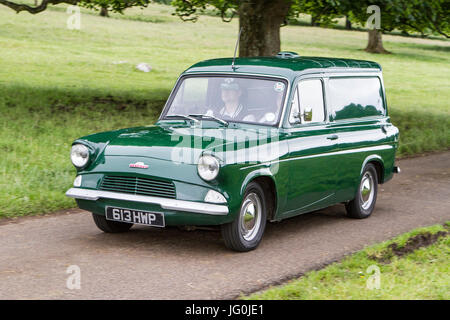 Ford Anglia green van at Mark Woodward Classic Events, classic cars, & vintage vehicles. - Stock Photo