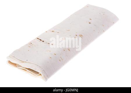 Thin lavash, rolled up, on white background. Studio Photo - Stock Photo
