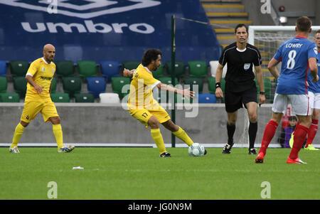 Windsor Park, Belfast, Northern Ireland. 28th June 2017. Linfield 1 La Fiorita 0.  La Fiorita's Damiano Tommasi - Stock Photo
