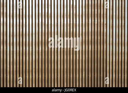 Old rusty corrugated metal wall of a barn building - Stock Photo