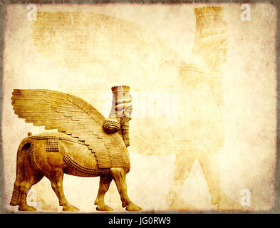 Grunge background with paper texture and lamassu - human-headed winged bull statue, Assyrian protective deity - Stock Photo