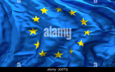 Full frame background of European flag blowing in the wind, facing turbulence - Stock Photo
