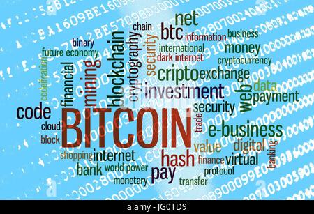 Bitcoin word cloud over binary code - Stock Photo