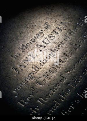 Jane Austen's Grave at Winchester Cathedral - Stock Photo
