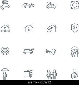 Business people insurance related line icon collection. Vector illustration set. - Stock Photo