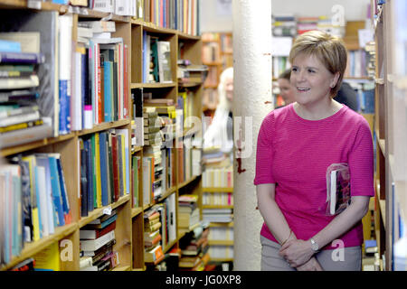 Scotland's First Minister Nicola Sturgeon and SNP candidate Mhairi Black browse a bookshop in Paisley.  Featuring: - Stock Photo