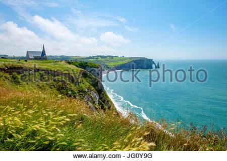 France, Normandy (Normandie), Seine-Maritime department, Etretat. Chapelle Notre-Dame de la Garde chapel and white - Stock Photo