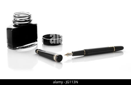 SWINDON, UK - JULY 2, 2017: Close up of a Mont Blanc fountain pen and Ink bottle on a white background - Stock Photo
