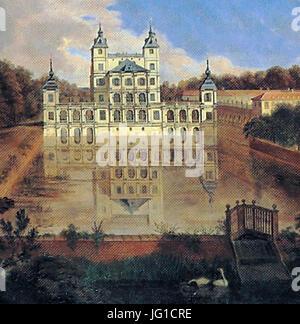 Düsseldorf, Altes Schloss Benrath (1660-1669, Johannes Lollio; genannt Sadeler), Abbildungen im Gemälde von Jan - Stock Photo