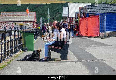 Typical English summer seaside holiday, Saltburn by the Sea, North Yorkshire - Stock Photo