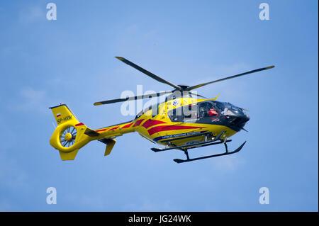 Eurocopter EC 135 helicopter of Polish Lotnicze Pogotowie Ratunkowe over Gdynia, Poland. 23 June 2017 © Wojciech - Stock Photo
