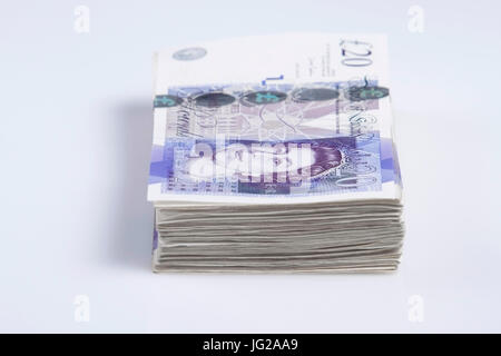 Warsaw, Poland - July 1, 2017: British currency. Pile of British 20 Pound banknotes - Stock Photo