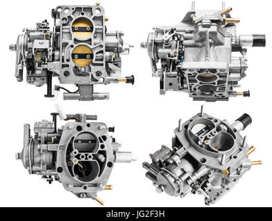 Carburetor on white background with shallow depth of field - Stock Photo