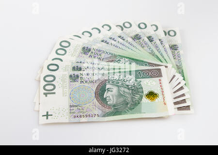 Warsaw, Poland - July 1, 2017: Polish currency. Fan of Polish 100 Zloty banknotes. - Stock Photo