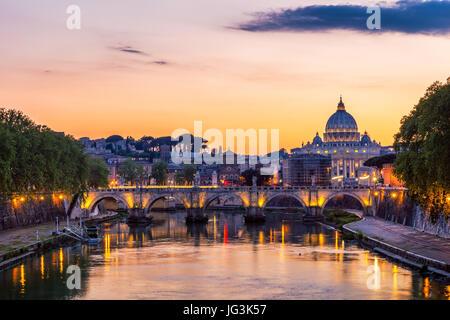 Skyline with bridge Ponte Vittorio Emanuele II and classic architecture in Rome, Vatican City scenery over Tiber - Stock Photo