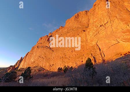 North Gateway Rock seen in the morning sun at Garden of the Gods, Colorado Springs, Colorado. - Stock Photo