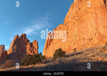 Both North Gateway Rock and South Gateway Rock are seen here in morning light at Garden of the Gods, Colorado Springs, - Stock Photo