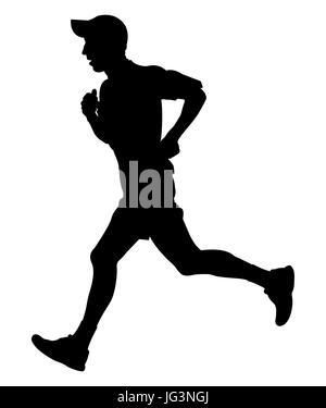 man running in cap on hand smartphone black silhouette - Stock Photo