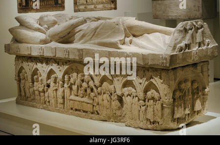 Anonymous. Castile. Sepulchre of a nobleman of the Tellez de Meneses family, ca.1300. From the Monastery of Santa - Stock Photo