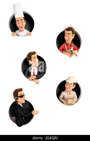 3d man in different jobs coming through circular holes in wall, illustration with isolated white background - Stock Photo