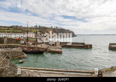 Cornwall, UK: April, 2016: The Phoenix set sail from Charlestown port on the south coast of Cornwall, England. She - Stock Photo