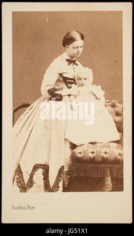 Princess Clotilde and baby (probably Napolèon Victor Bonaparte, born 1862) - Stock Photo