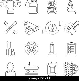 Auto repair icons set, outline style - Stock Photo
