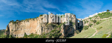 High Resolution Ronda Panorama  showing the entire gorge and cliff on which the Parador is situated also  Puente - Stock Photo