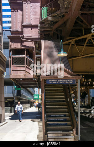 Entrance to Quincy station on the Chicago L, elevated railway. - Stock Photo