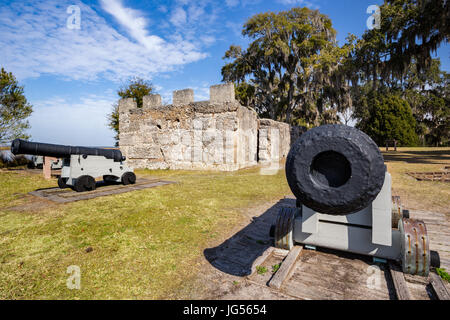 Cannon at Fort Frederica, St. Simons Island, Georgia - Stock Photo