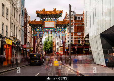 The New Chinatown Gate On Wardour Street, Entrance To Chinatown, London, UK - Stock Photo