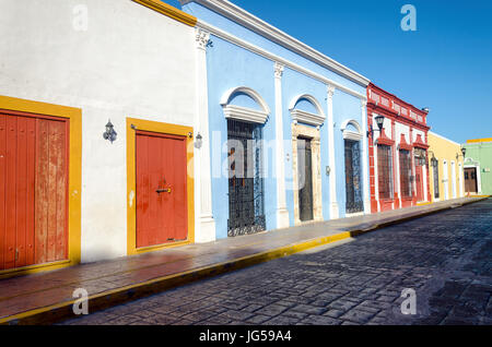 Tipycal colonial street in Campeche, Mexico - Stock Photo