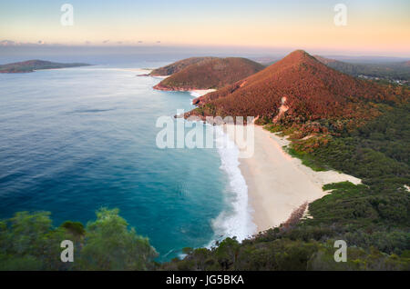 Sunrise from the look on Mount Tomaree in Port Stephens, NSW, Australia. - Stock Photo