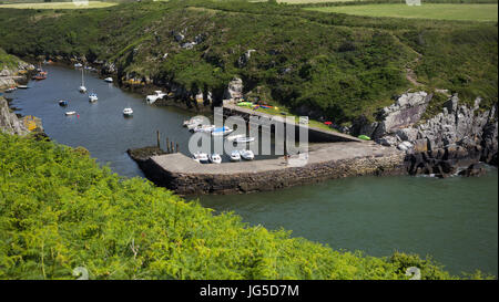 A view from the Pembrokeshire Coast Path, above Porthclais Harbour, St. David's, Wales, UK - Stock Photo