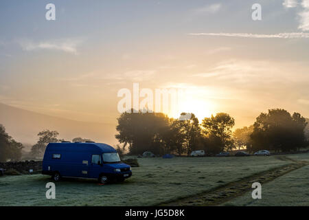 A Misty Autumnal Morning at High Laning Caravan and Camping Site, Dent, Yorkshire Dales National Park, UK - Stock Photo