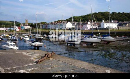 Low tide in Aberaeron harbour, Ceredigion, Wales, UK - Stock Photo