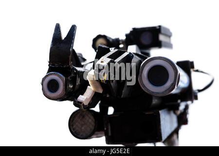 Pincer, cameras, disruptor and lights of a Northropp Grumman 'Wheelbarrow' remote control robotic bomb disposal - Stock Photo
