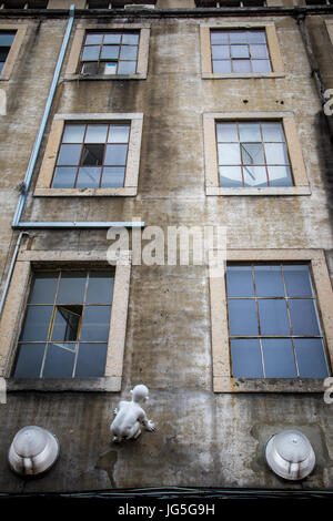 LISBON, PORTUGAL - June 2017 - Windows of old industrial building in LX Factory - Stock Photo