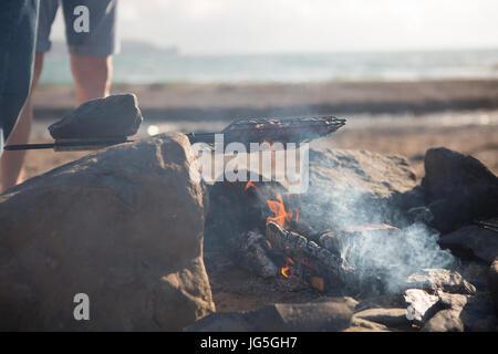 Beach BBQ, Cornwall, UK - Stock Photo