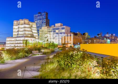New York, New York, USA cityscape on the High Line linear park. - Stock Photo
