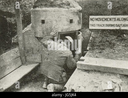 Concealed German snipers post cleared by Canadians,1917 - Stock Photo
